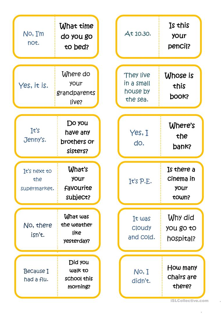 Questions And Answers Domino Part 2 Worksheet Free Esl Printable