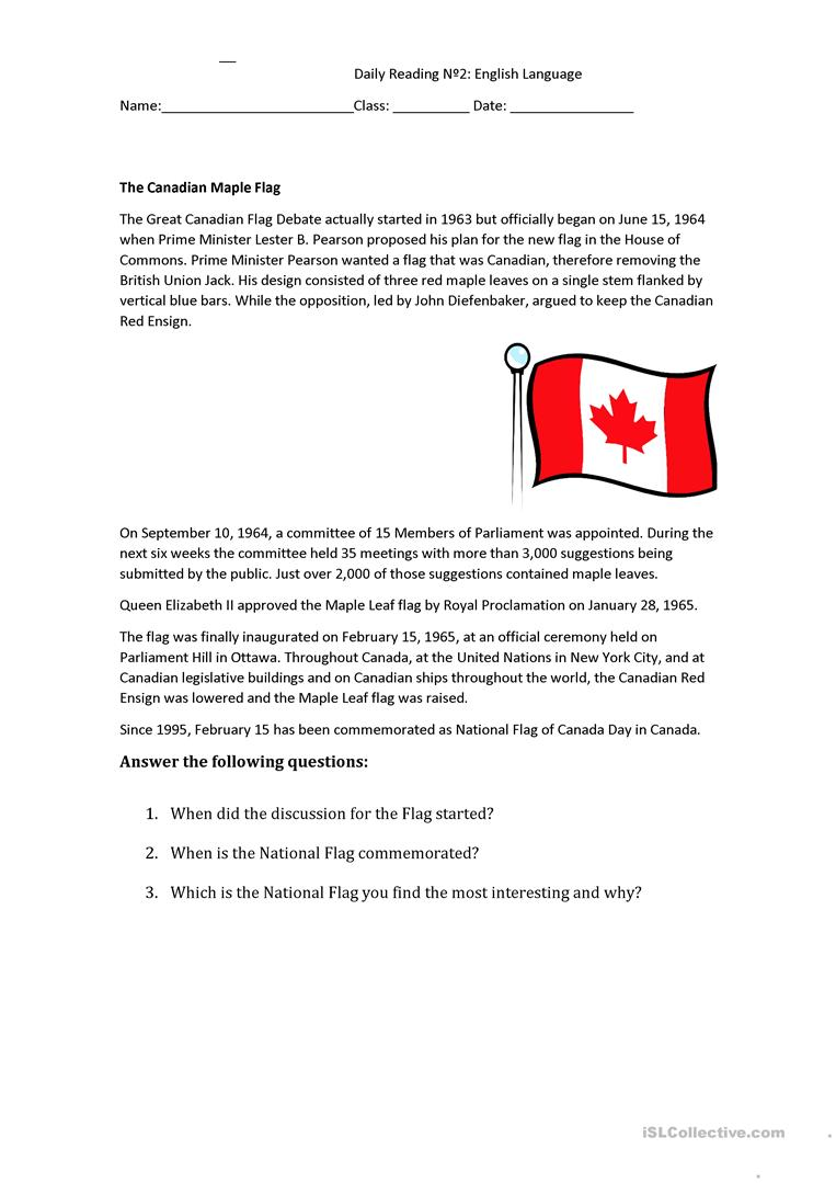 - Reading Comprehension - Daily Reading - English ESL Worksheets For