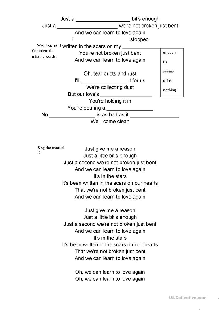 Song Just Give Me A Reason Pink English Esl Worksheets For Distance Learning And Physical Classrooms