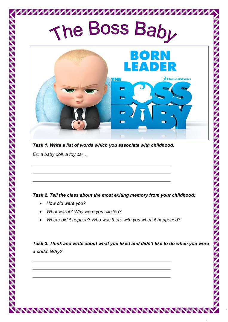 The Boss Baby Trailer English Esl Worksheets