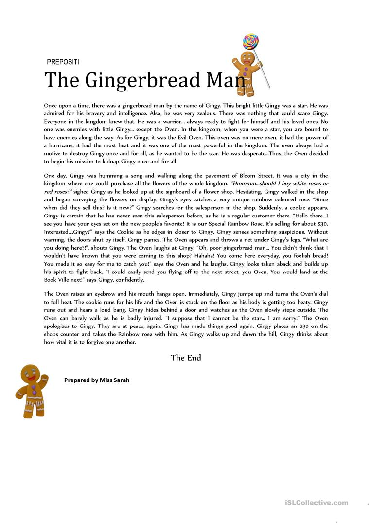 graphic about The Gingerbread Man Story Printable named The Gingerbread Guy (Prepositions) - English ESL Worksheets
