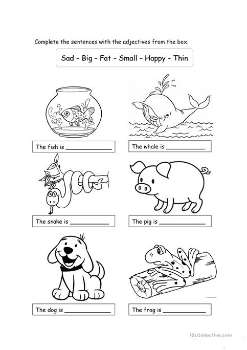 Animals and adjectives for children worksheet - Free ESL printable ...