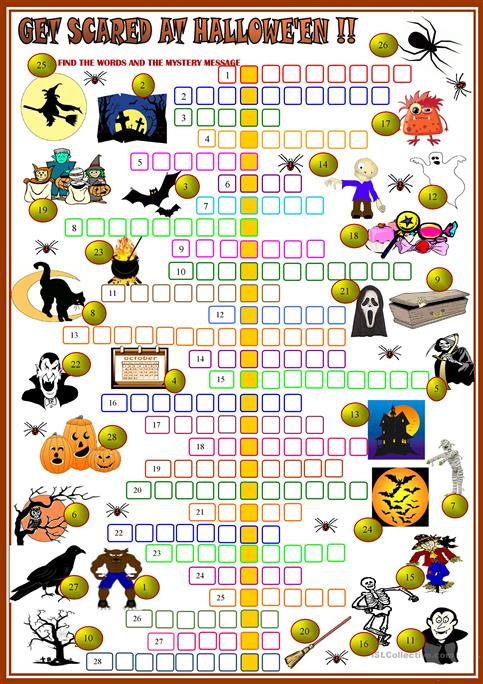 Gat Scared At Halloween Crossword 2 With KEY
