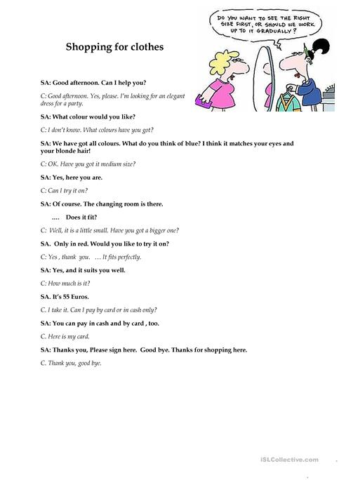 Shopping For Clothes Dialogue Sample Worksheet Free Esl Printable