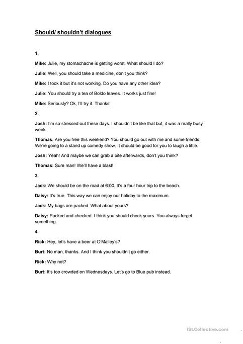 Shouldshouldnt Dialogues Worksheet Free Esl Printable Worksheets