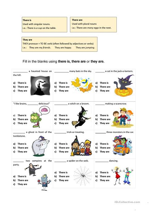 there are vs they are (Halloween-themed worksheet) worksheet ...