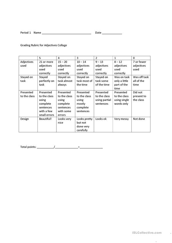 Adjective Collage Rubric