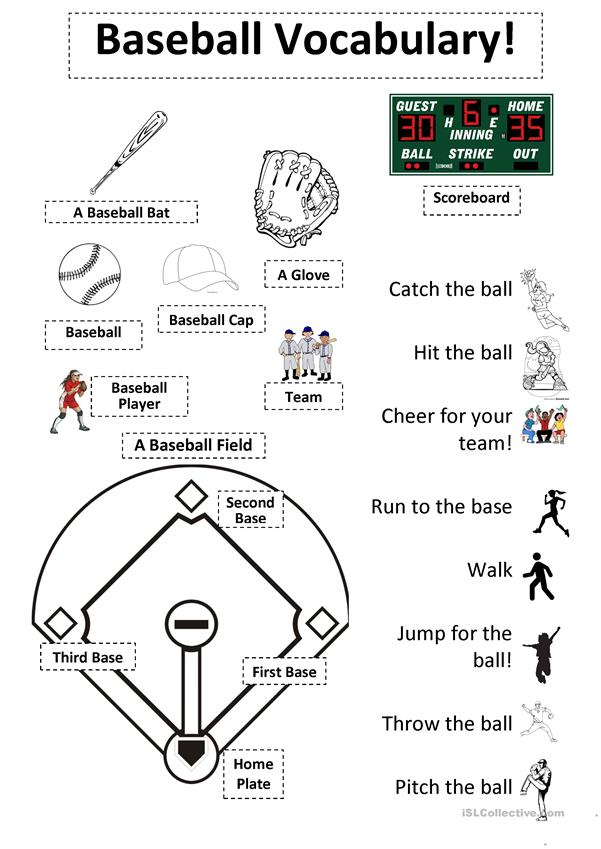Baseball Vocabulary Sheet