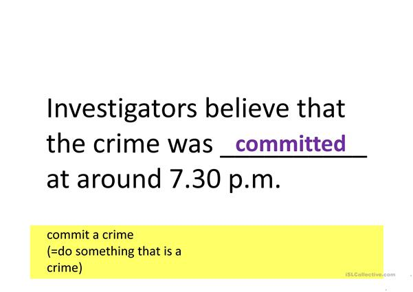 Crimes: Common collocations