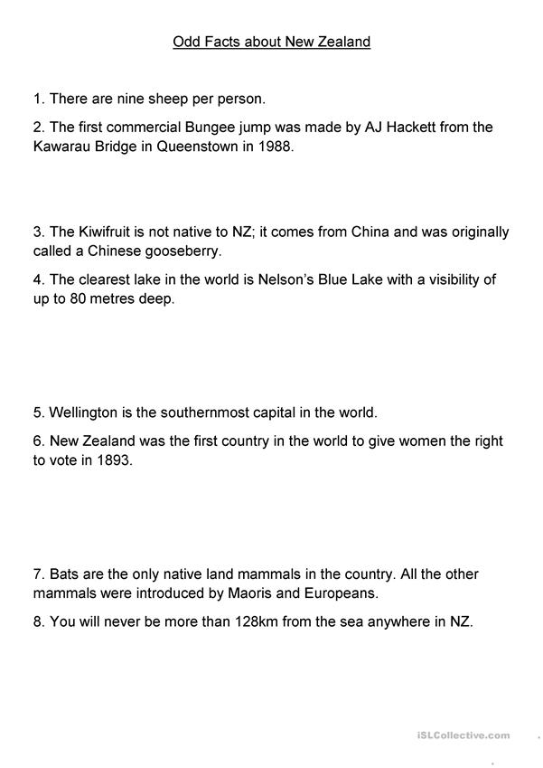 Did/do you know? - Odd facts about New Zealand