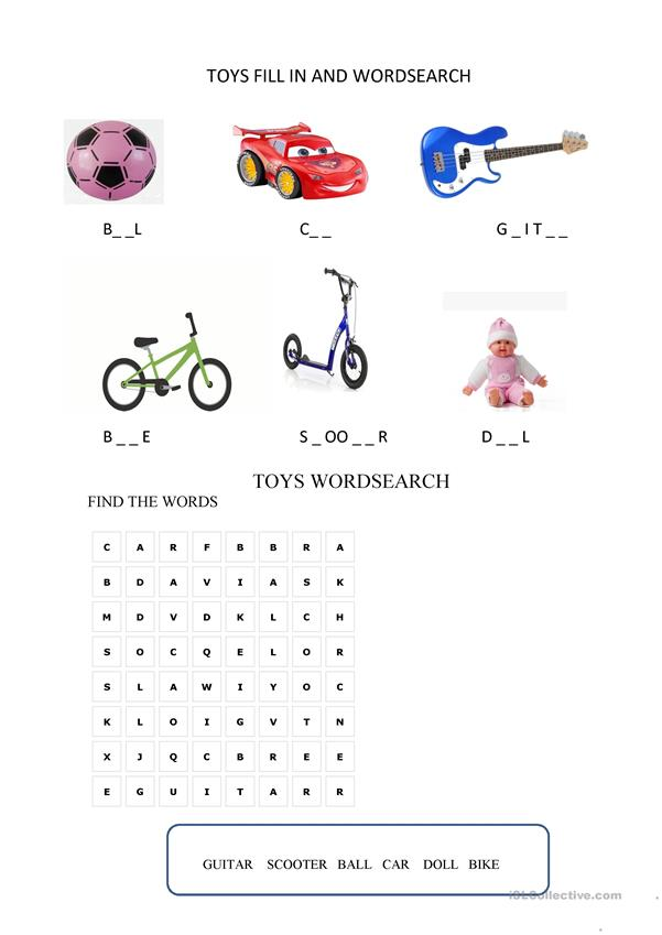 EXPLORERS 1 UNIT 2 TOYS FILL IN & WORDSEARCH