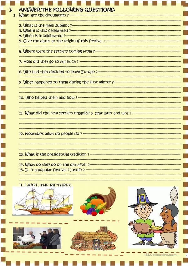 Happy Thanksgiving!  2 page reading activity