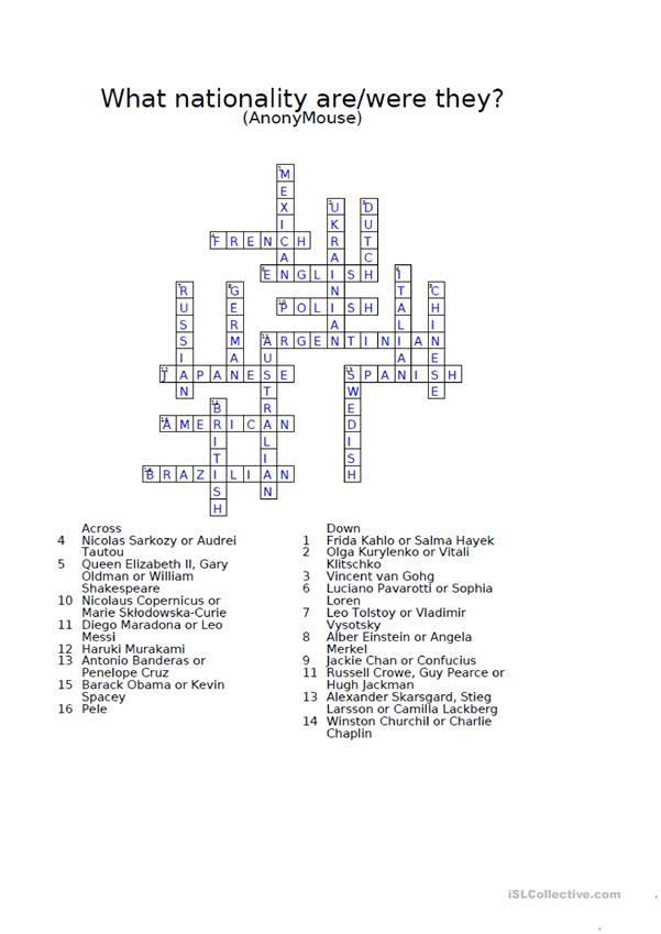 Nationalities crossword puzzle