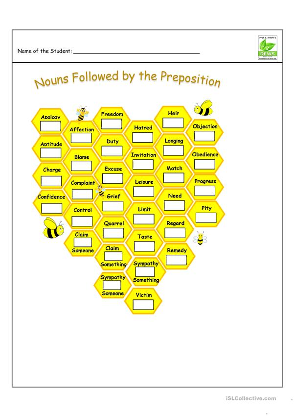 Nouns Followed by Preposition