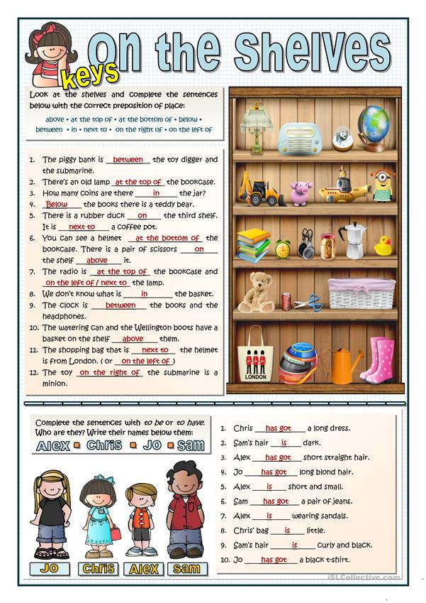 ON THE SHELVES - PREPOSITIONS OF PLACE