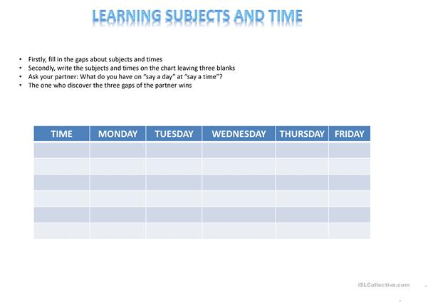 SUBJECTS AND TIME CHART