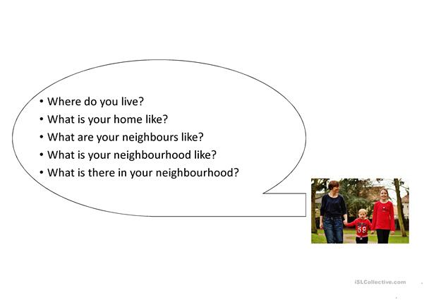 talking about your home and neighbourhood