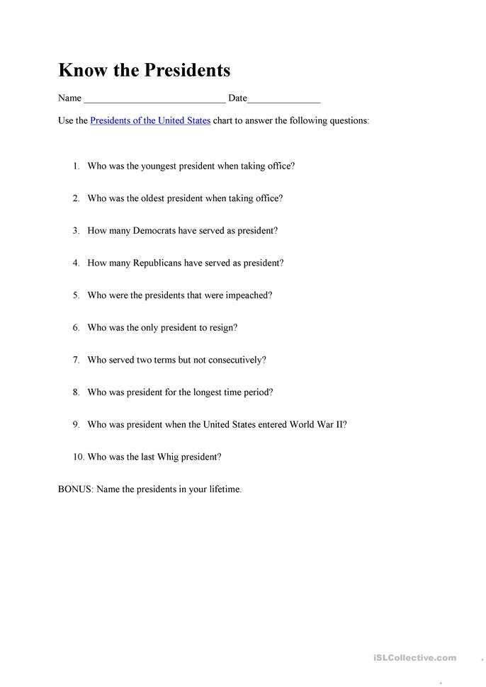 American best-known presidents chronology worksheet - Free ...
