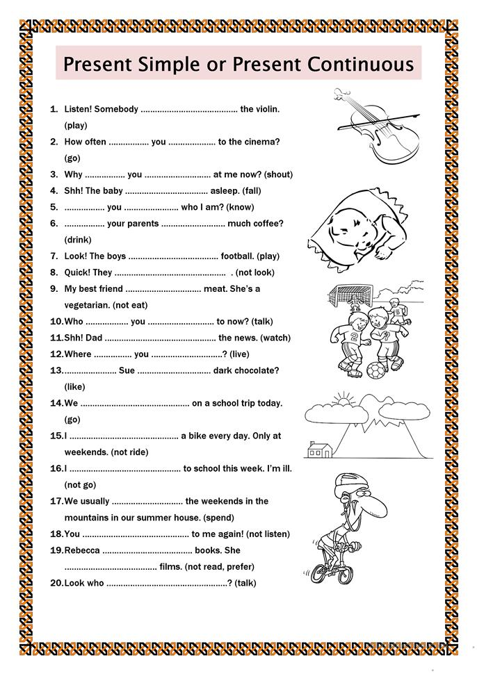 Present Simple Or Present Continuous Worksheet Free Esl