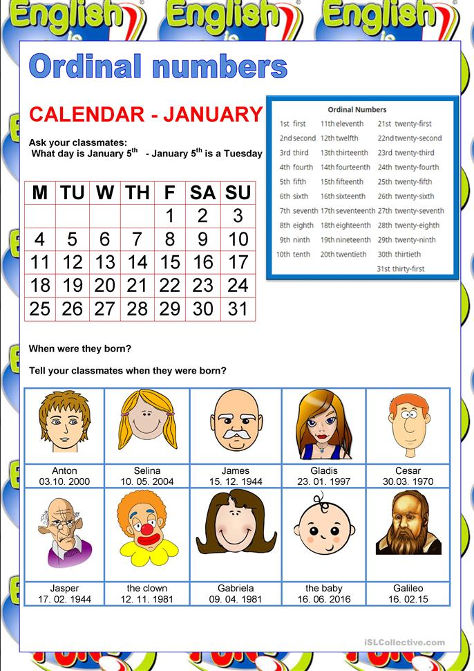 Calendar Activities For Elementary Students : Welcome to english ordinal numbers worksheet free esl