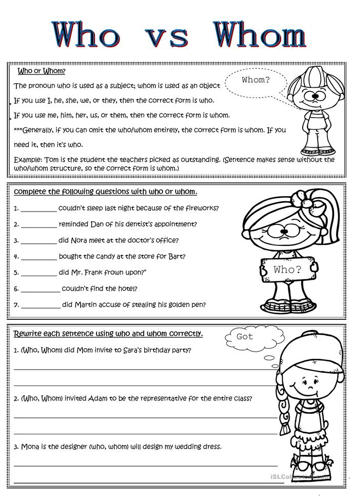 who vs whom worksheet free esl printable worksheets made by teachers. Black Bedroom Furniture Sets. Home Design Ideas