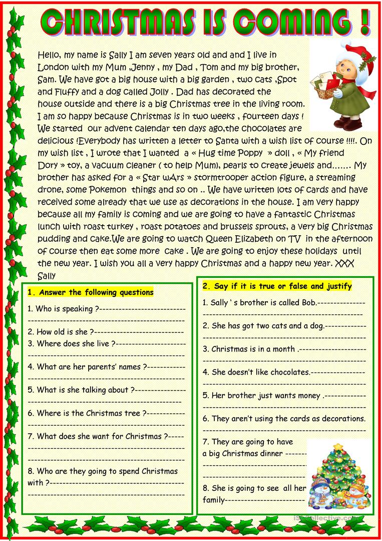 - Christmas Is Coming ; Basic Christmas Reading With A Poem On The