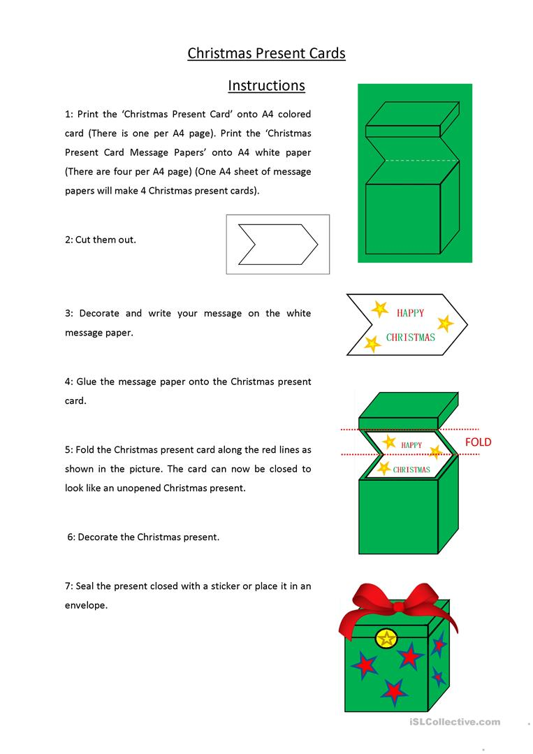 Christmas Present Christmas Cards English Esl Worksheets For Distance Learning And Physical Classrooms