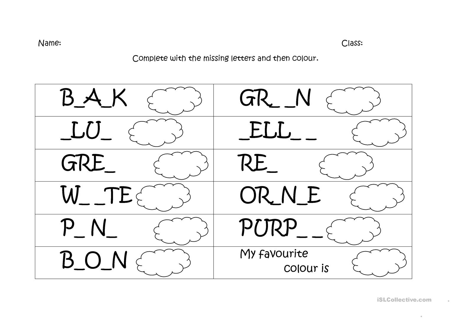 Colours Spelling - English ESL Worksheets for distance ...