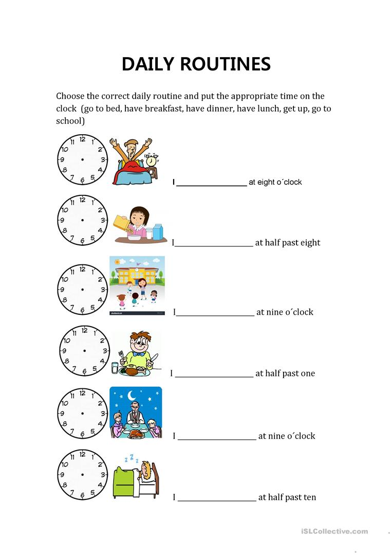 daily routines and hours - English ESL Worksheets for distance learning and  physical classrooms