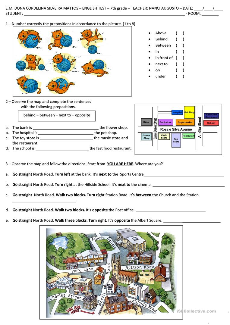 Directions and prepositions of place worksheet - Free ESL printable ...