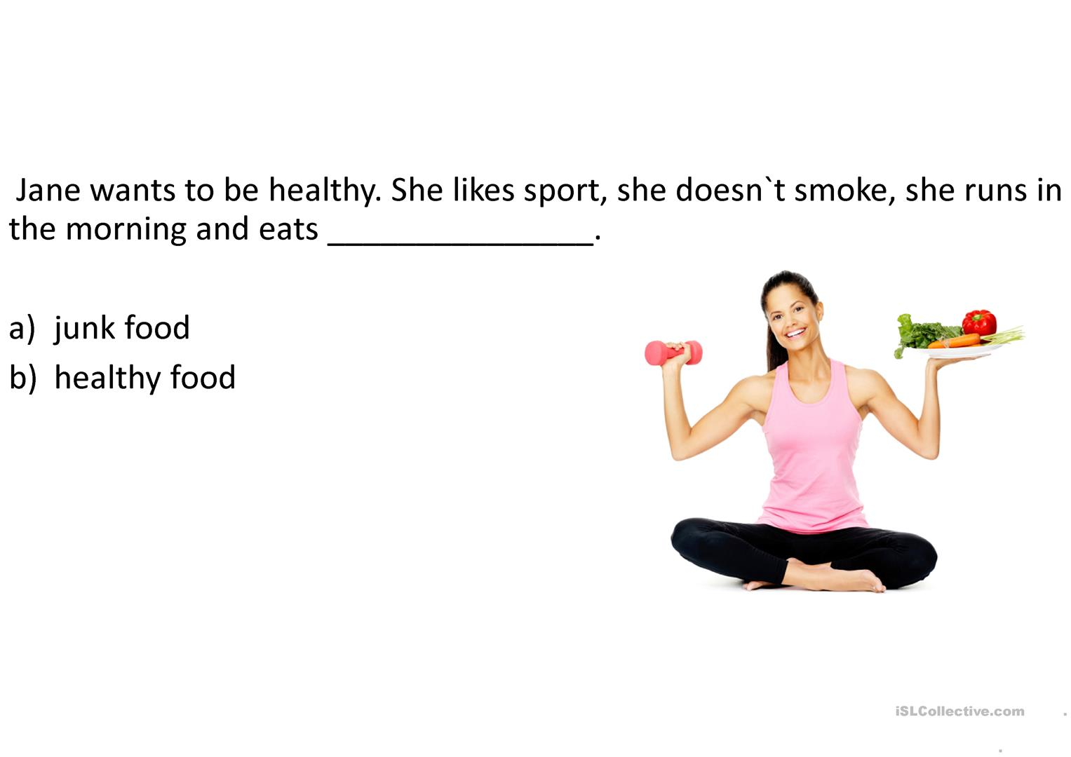 Eating habits + questions worksheet - Free ESL projectable