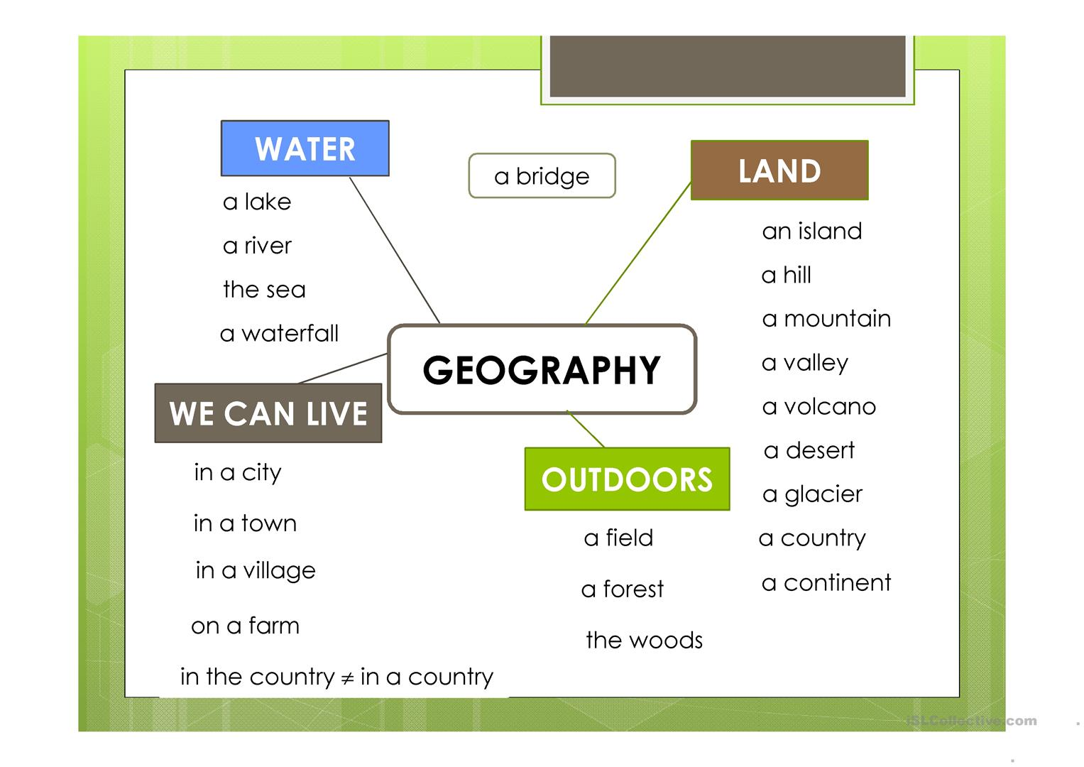 geography vocabulary worksheet free esl projectable worksheets made by teachers. Black Bedroom Furniture Sets. Home Design Ideas