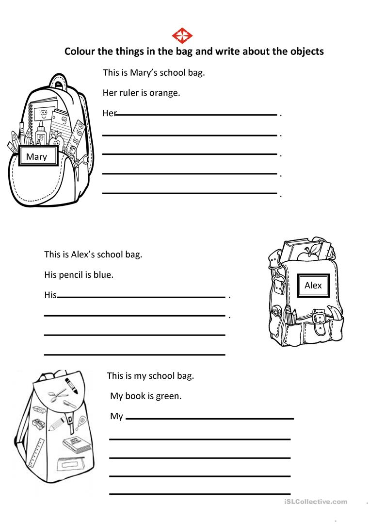 His Her My worksheet - Free ESL printable worksheets made by teachers
