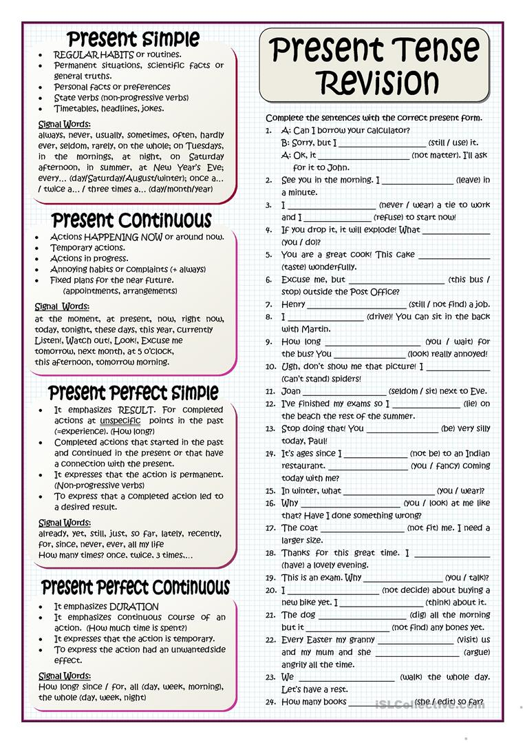 Present Tenses Revision English Esl Worksheets For Distance Learning And Physical Classrooms