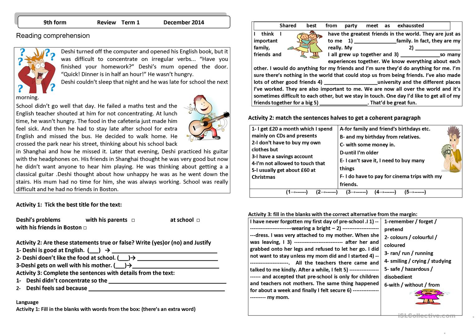 - School Life - English ESL Worksheets For Distance Learning And