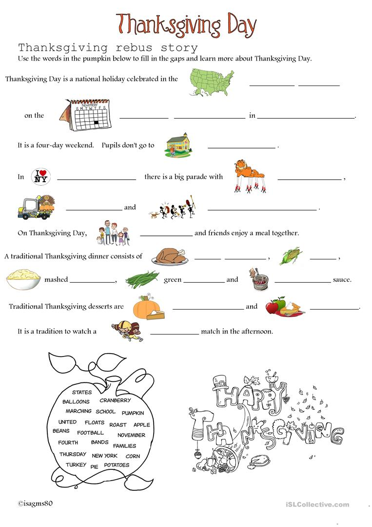 21 FREE ESL thanksgiving day worksheets