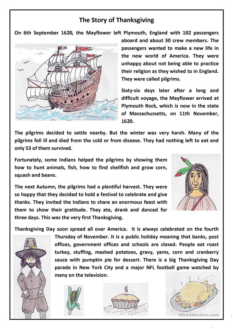 10 free esl thanksgiving story worksheets the story of thanksgiving esl worksheets kristyandbryce Image collections