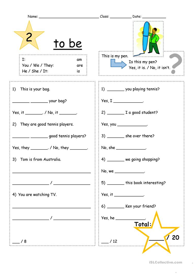To be verb practice Level 2 - English ESL Worksheets