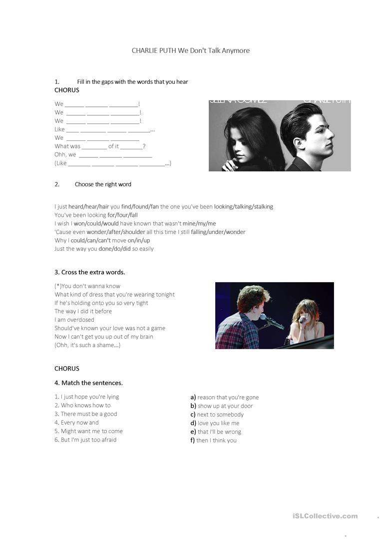 English ESL we don't talk anymore worksheets - Most