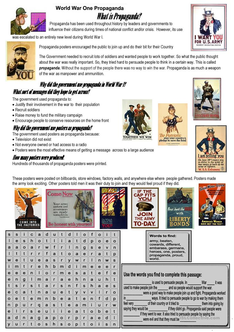 WWI and War propaganda worksheet Free ESL printable worksheets – Propaganda Worksheets