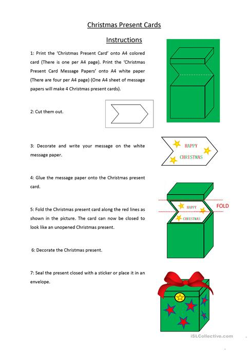picture regarding Printable Christmas Cards for Teachers titled Xmas Demonstrate Xmas Playing cards worksheet - Cost-free ESL