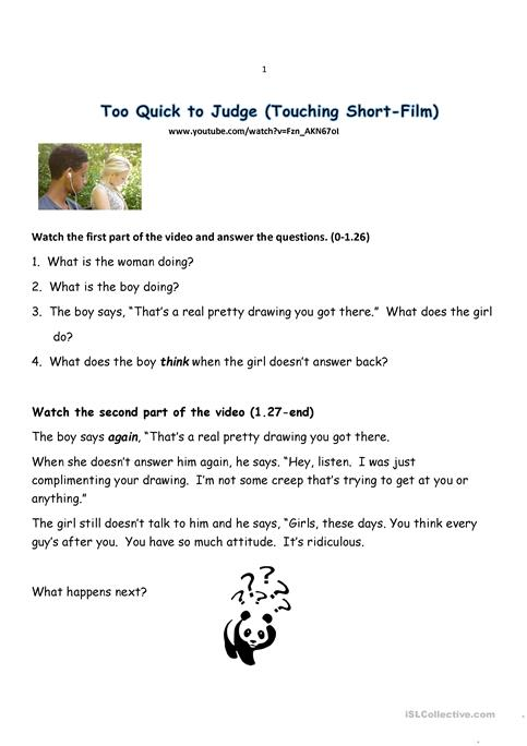 Too Quick to Judge worksheet - Free ESL printable worksheets made by ...