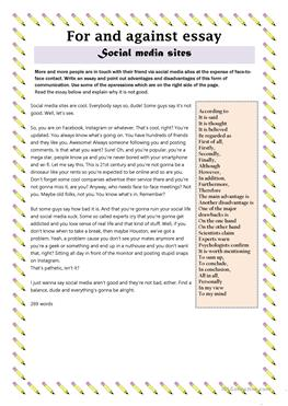 esl social media worksheets social media essay