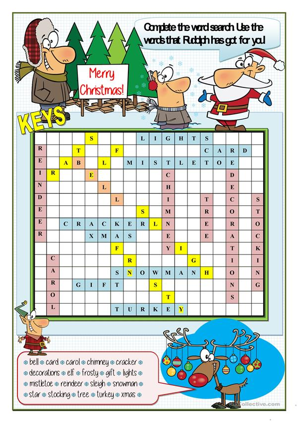 A WORD SEARCH WITH RUDOLPH'S HELP