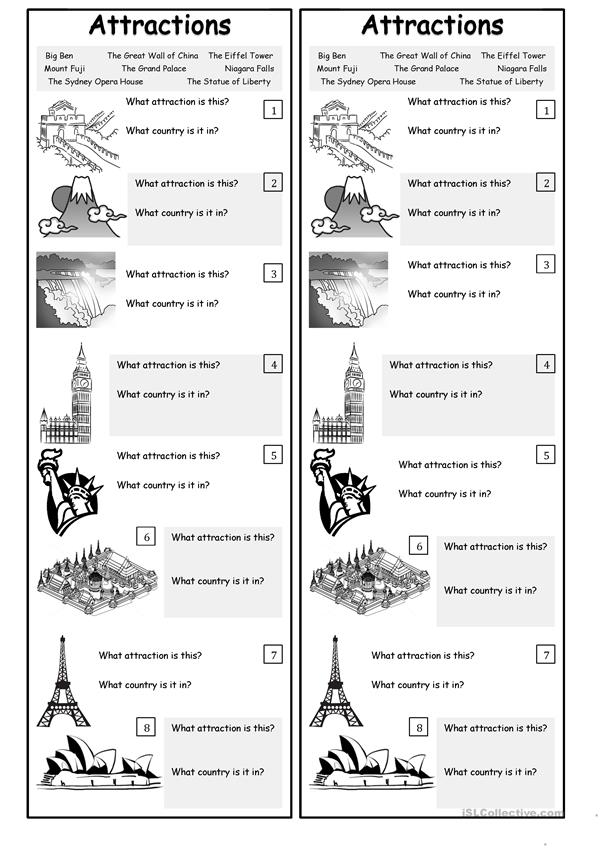 Attractions Around the World - Worksheet