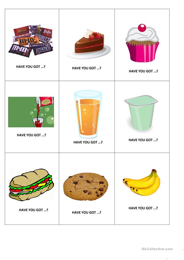 Food - cards to play a game