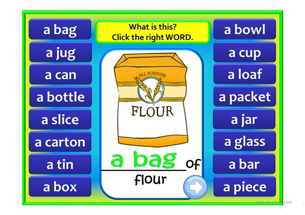 FOOD PARTITIVES GAME - a box of, a bunch of ...
