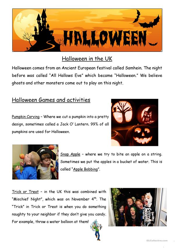Halloween in the UK - classroom poster