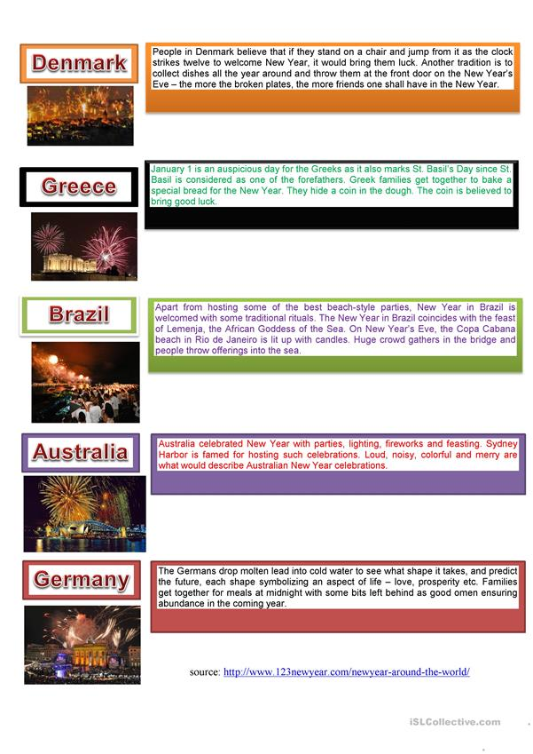 New Year celebrations in different countries