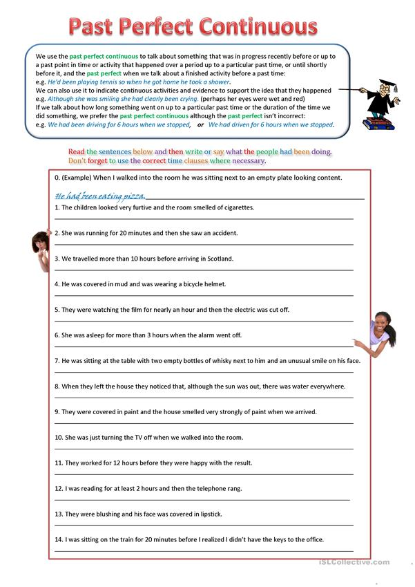 Past Perfect and Past Perfect Continuous Worksheet - English